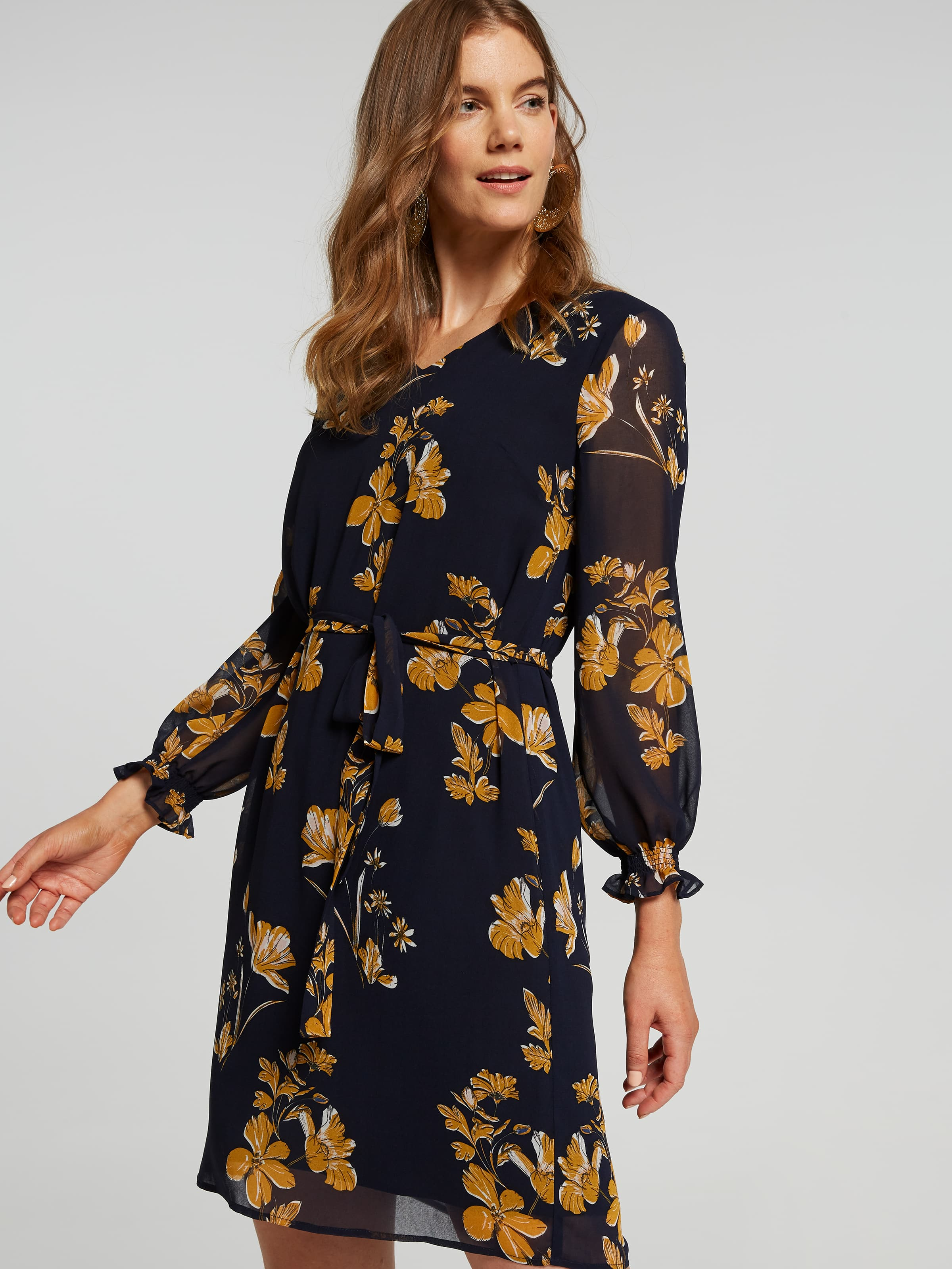 Image of Jacqui E Australia Jacqui E 3/4 Sleeve V-Neck Amy Dress