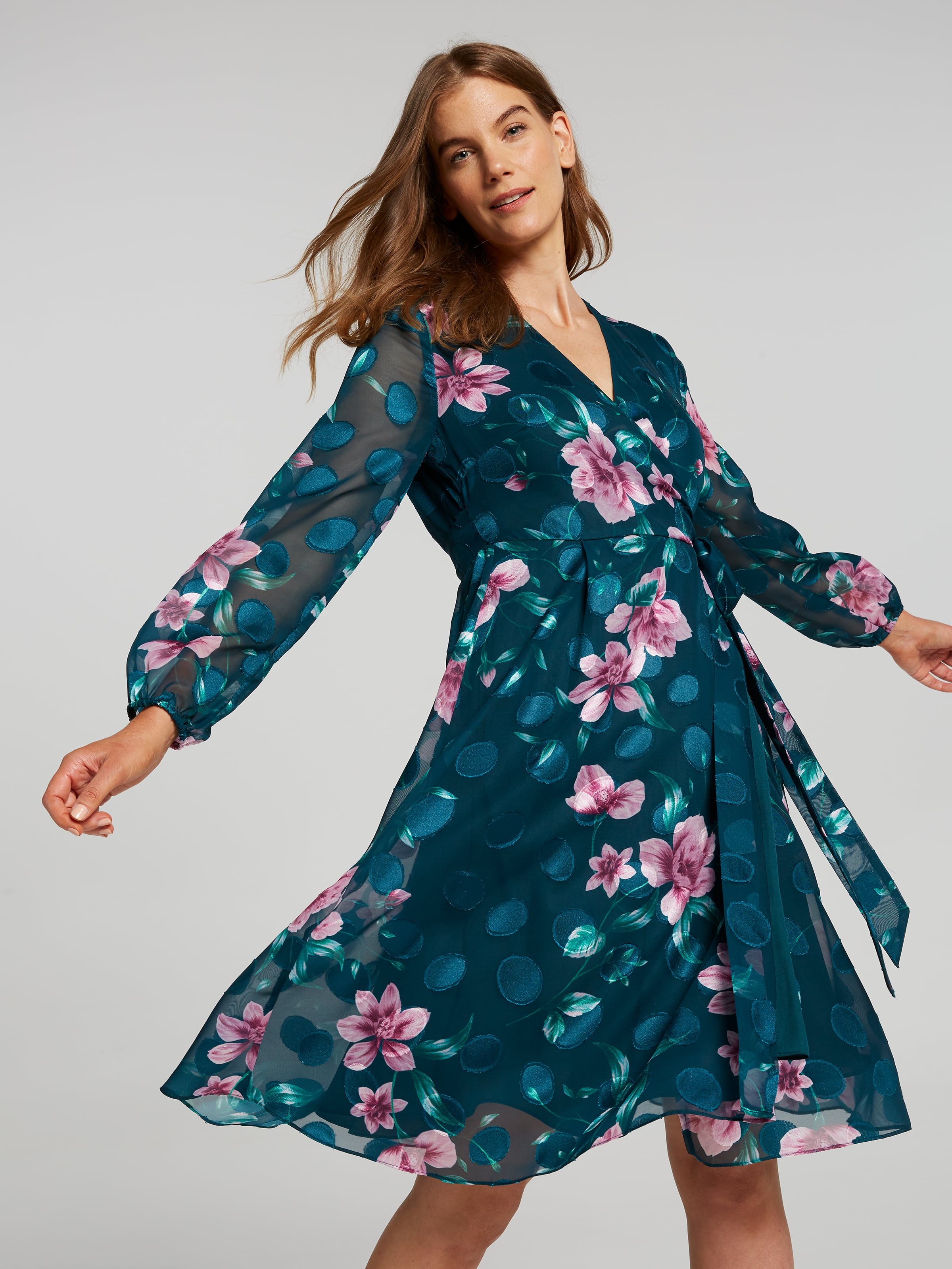 Image of Jacqui E Australia Jacqui E 3/4 Sleeve Clara Jacquard Wrap Dress