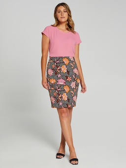 Print Sateen Pencil Skirt