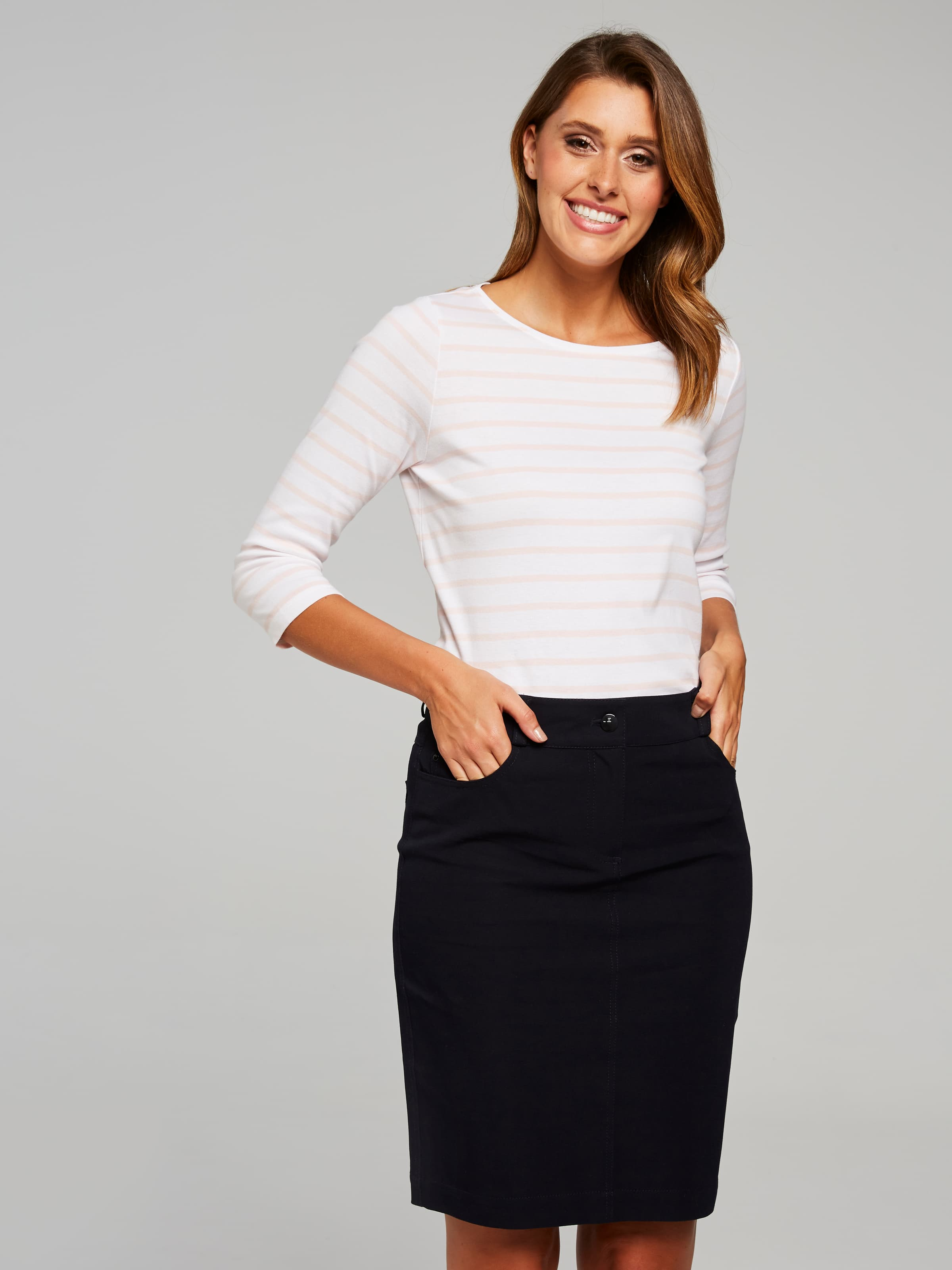 The Highly Anticipated Lily 5 Pocket Skirt In This Modern Stretch Jean Fabrication, Will Prove To Be A Favourite In Your Casual Office Or Weekend Look. Style Back With A Casual Tee Or Blouse, A Cute Pair Of Ballerina Flats And You're Good To Go.(Italian Navy, 18)