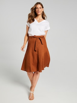 Solid Belt Full Linen Skirt