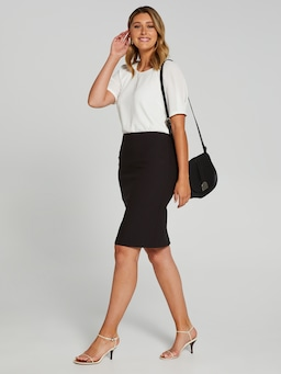 Jacquard Stretch Pencil Skirt