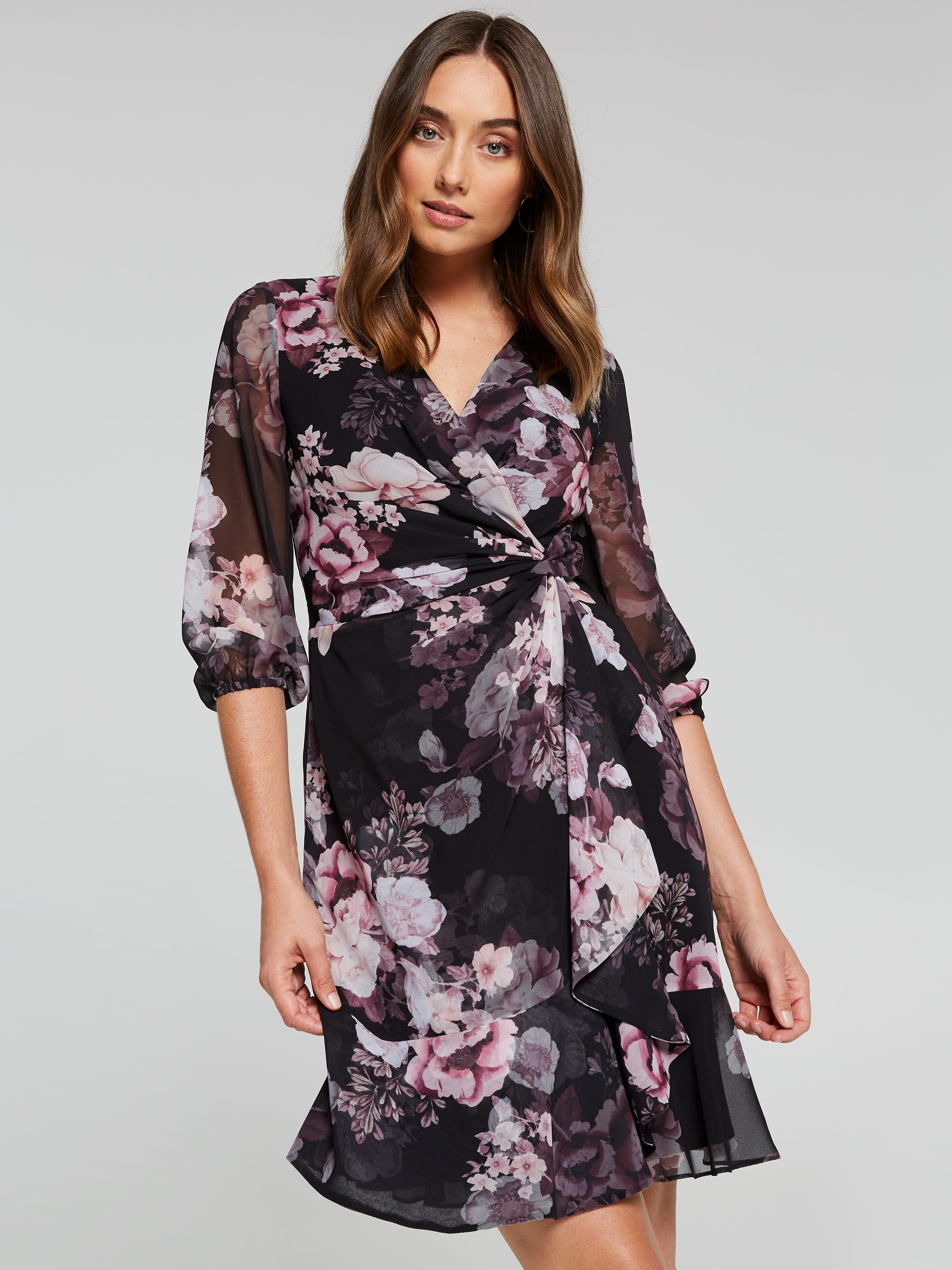 Image of Jacqui E Australia Jacqui E 3/4 Sleeve Keira Ruffle Wrap Dress