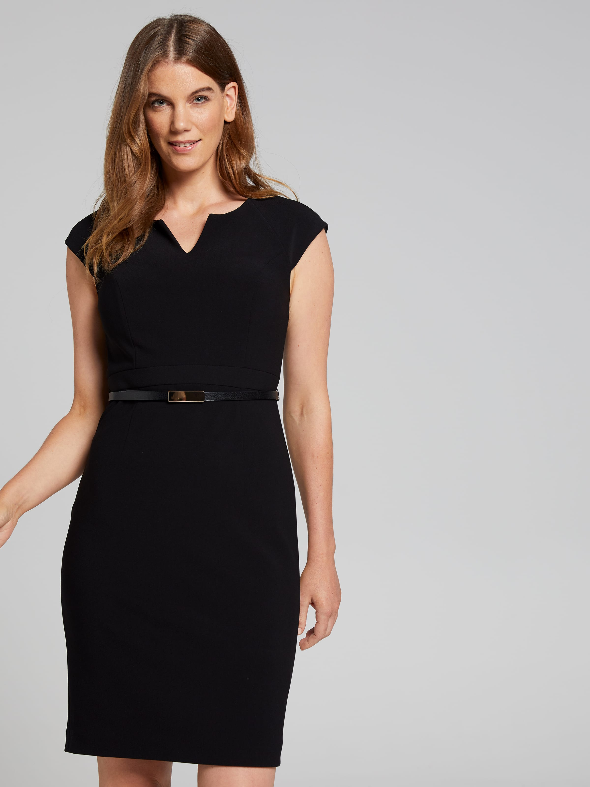 Image of Jacqui E Australia Jacqui E Rosie Belt Notch Neck Shift Dress