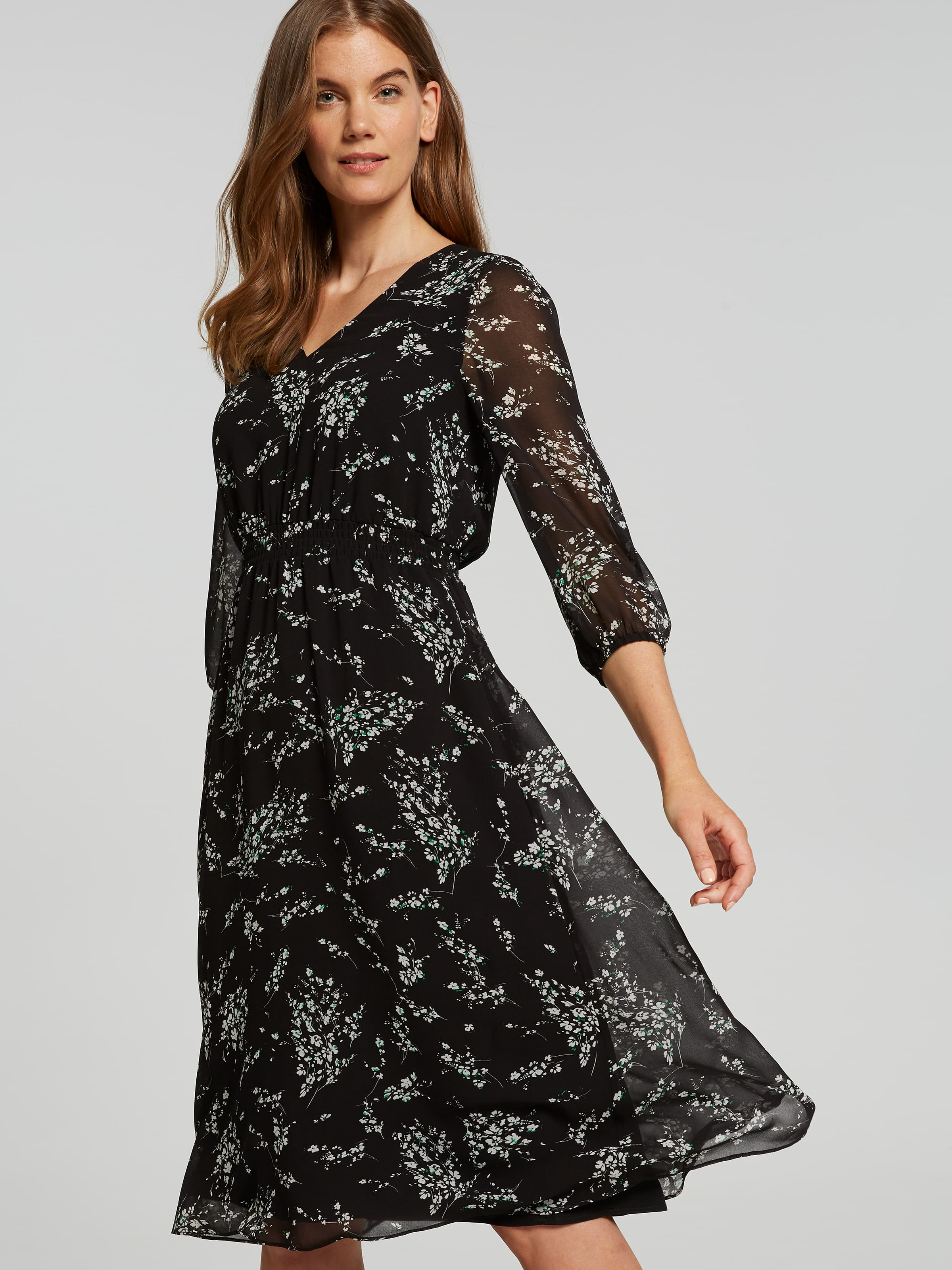 Image of Jacqui E Australia Jacqui E 3/4 Sleeve Dani V Neck Soft Midi Dress