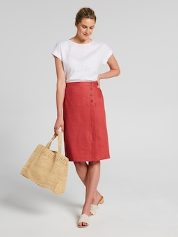 Linen Button Wrap Skirt
