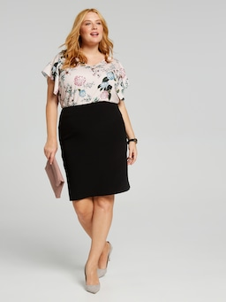 Solid Text Pencil Skirt