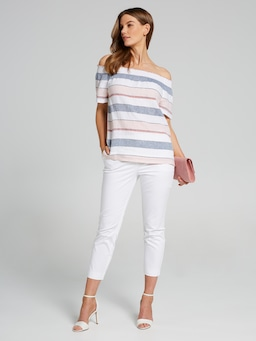 Rouched Neck Linen Top