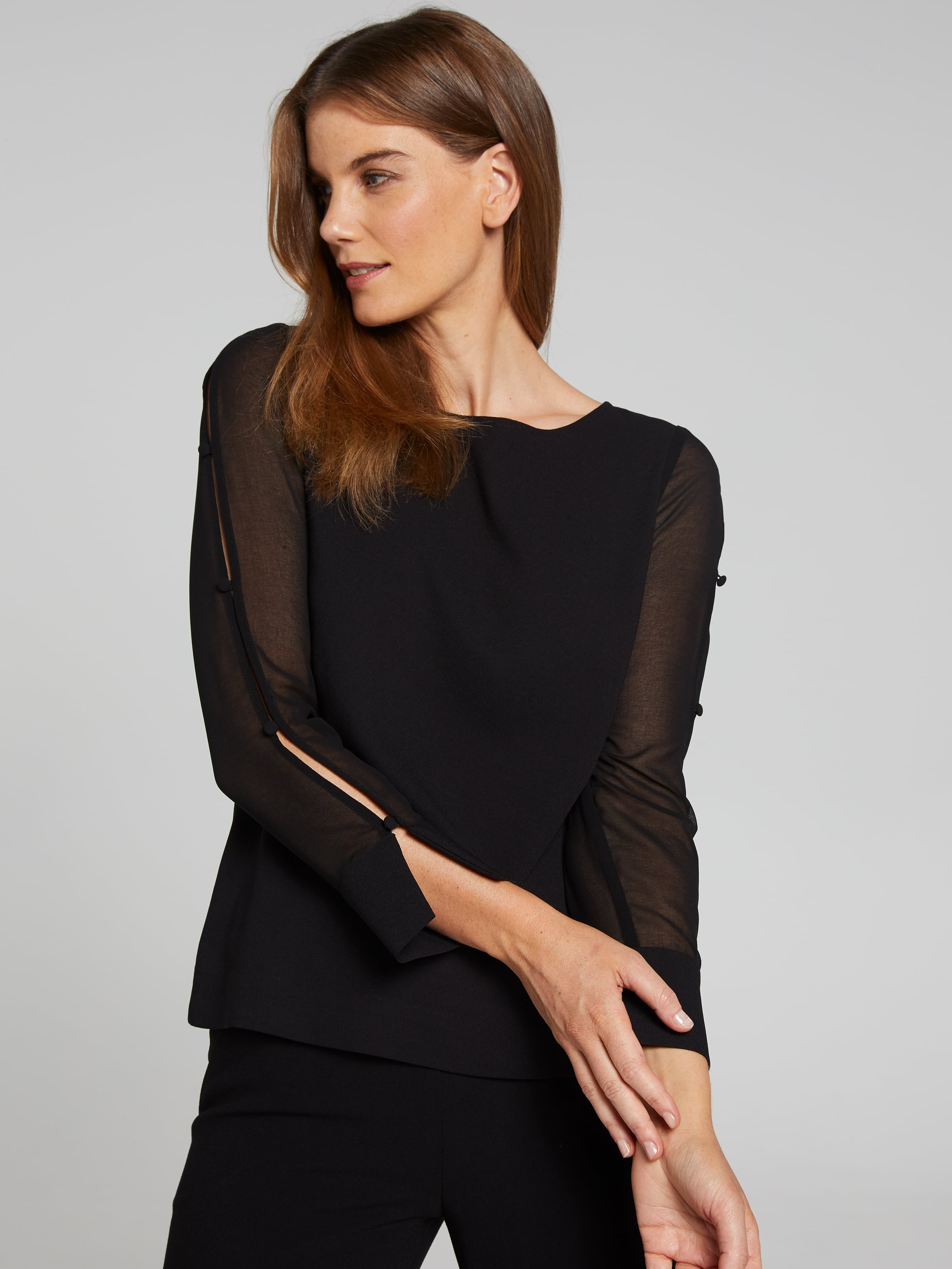Image of Jacqui E Australia Jacqui E Sheer Sleeve Button Detail Top