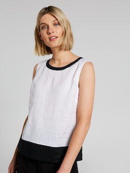 Contrast Linen Shell Top