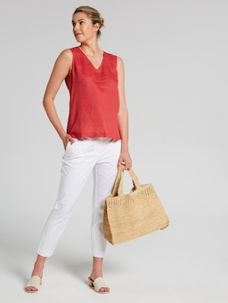 V Neck Linen Shell Top