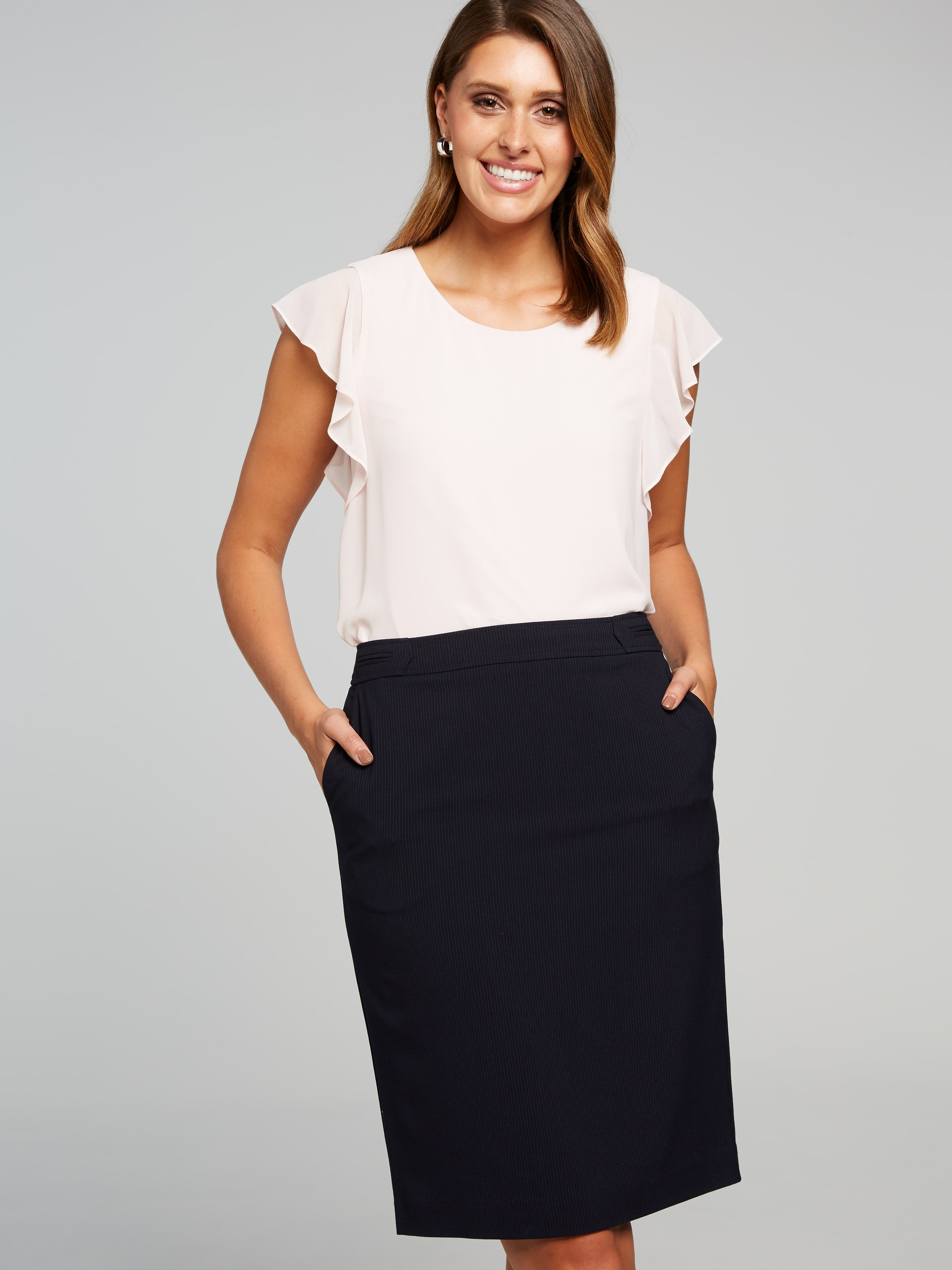 Introducing our new 'Suits You' collection. This stylish Dallas Pinstripe Suit Skirt adds a fashion statement to your work wardrobe. This skirt comes fully lined, with invisible back zip and is a classic pencil shape. Co-ordinating items.(Navy, 6)