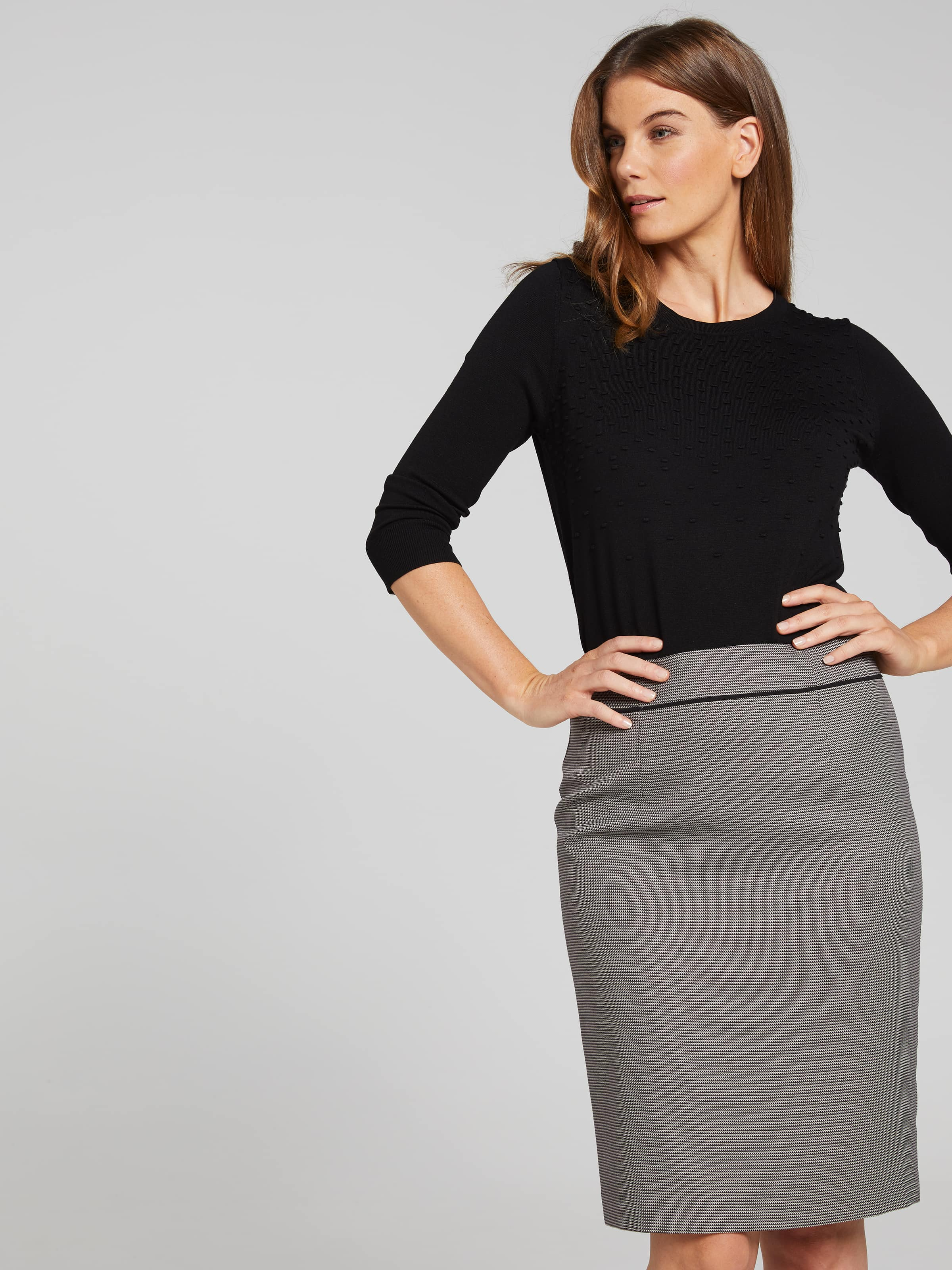 Image of Jacqui E Australia Jacqui E Geo Piped Suit Skirt