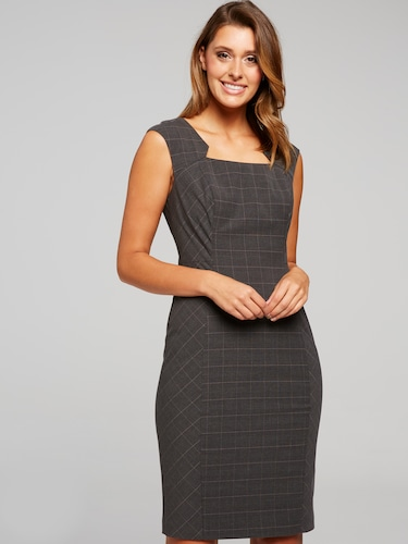 Grey Check Suits You Shift Dress