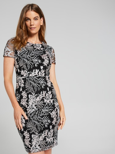 Elora Embroidered Mesh Shift Dress