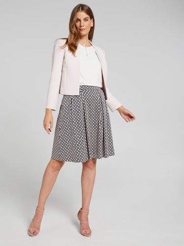 Geo Sateen Fit & Flare Skirt