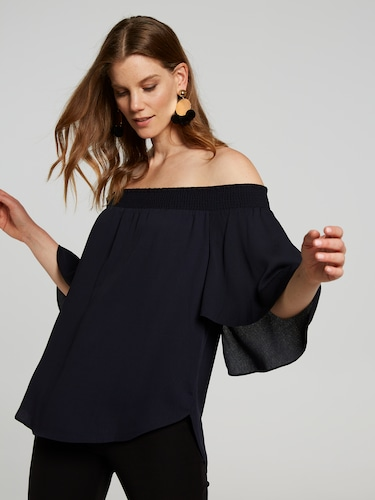 Alexis Shirred Offshoulder Top