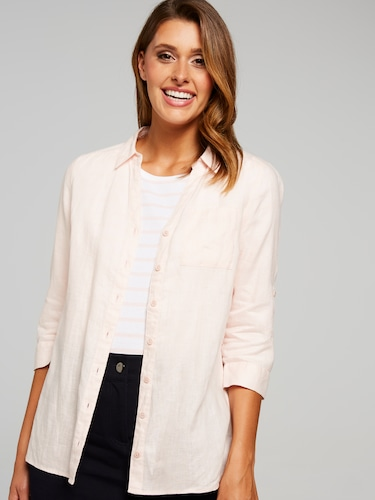 Pop Over Solid Linen Blouse