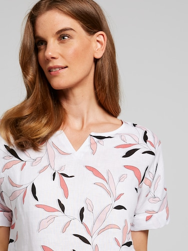 Notch Printed Linen Top