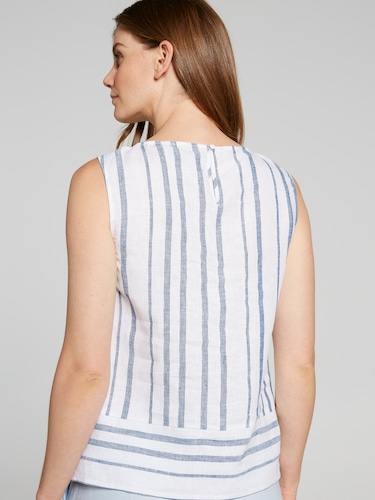Stripe Linen Shell Top