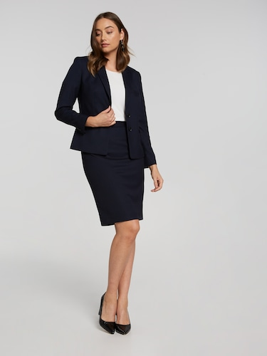 Textured Navy Suit Skirt