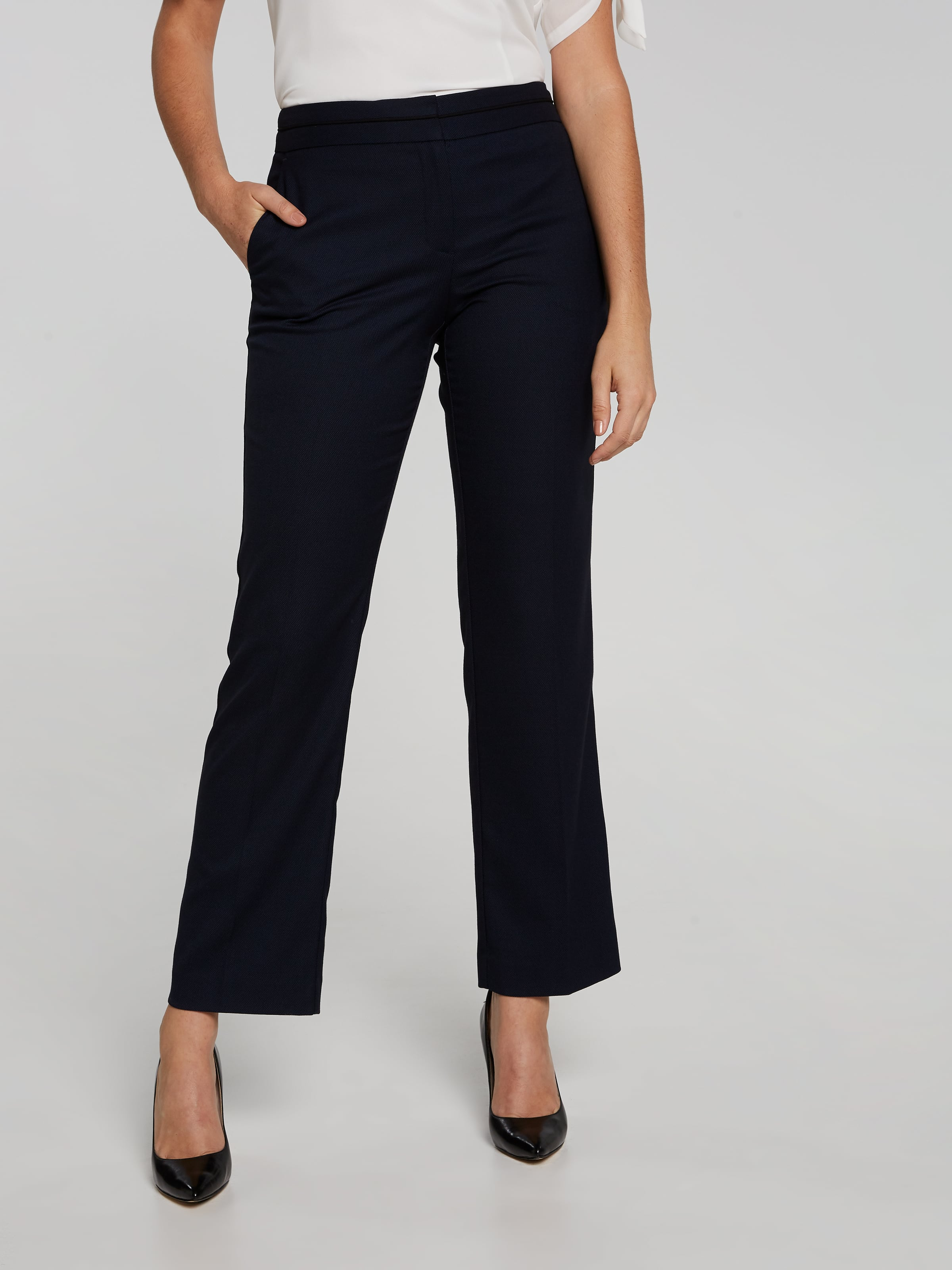 Navy Texture Straight Pant