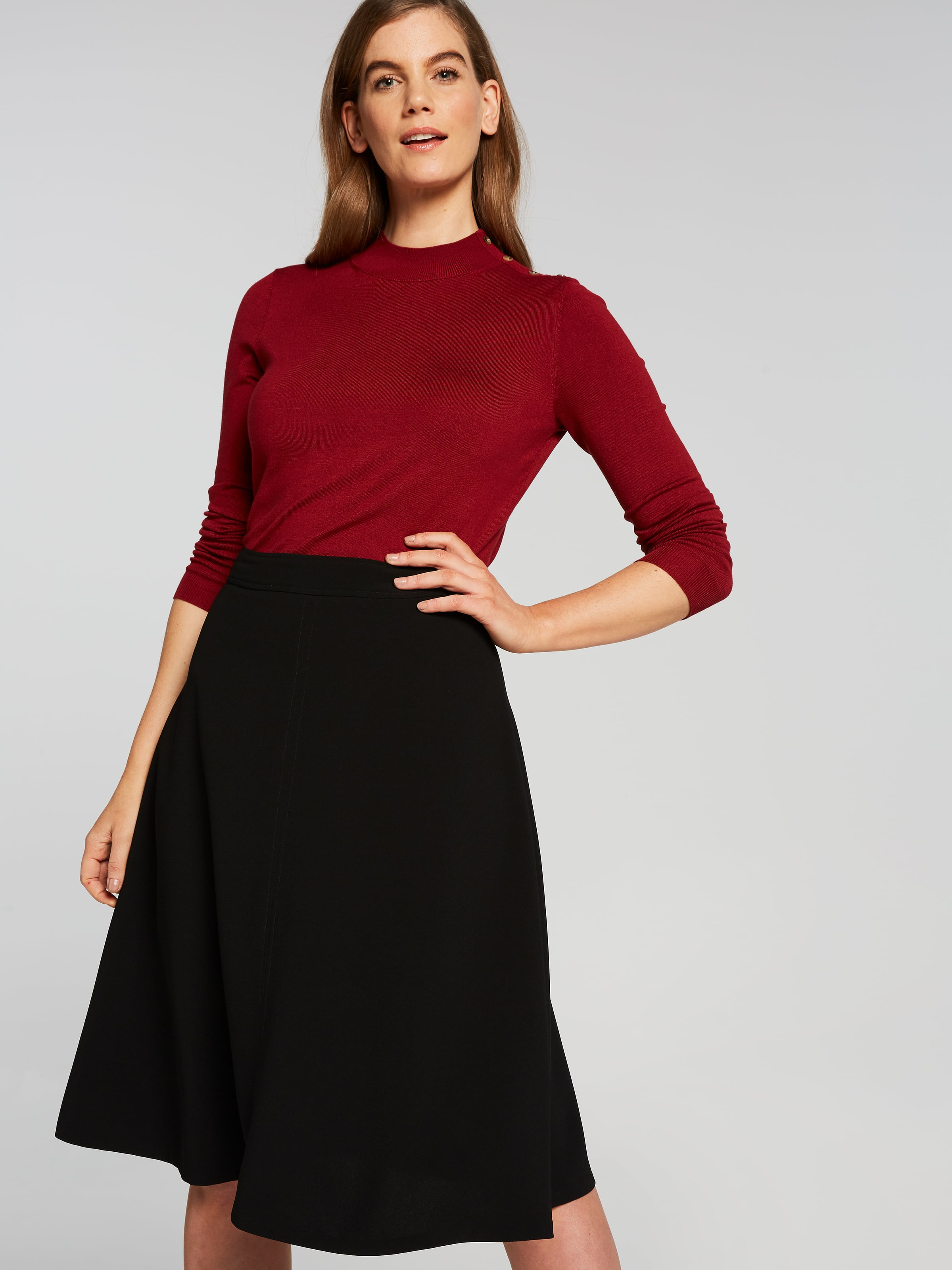 Black Crepe Soft Skirt