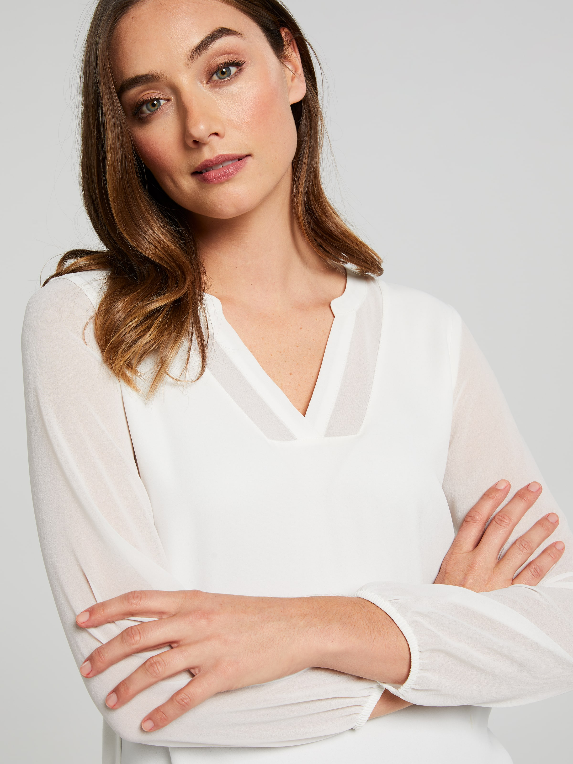 Long Sleeve Olinda Sheer Notch Top
