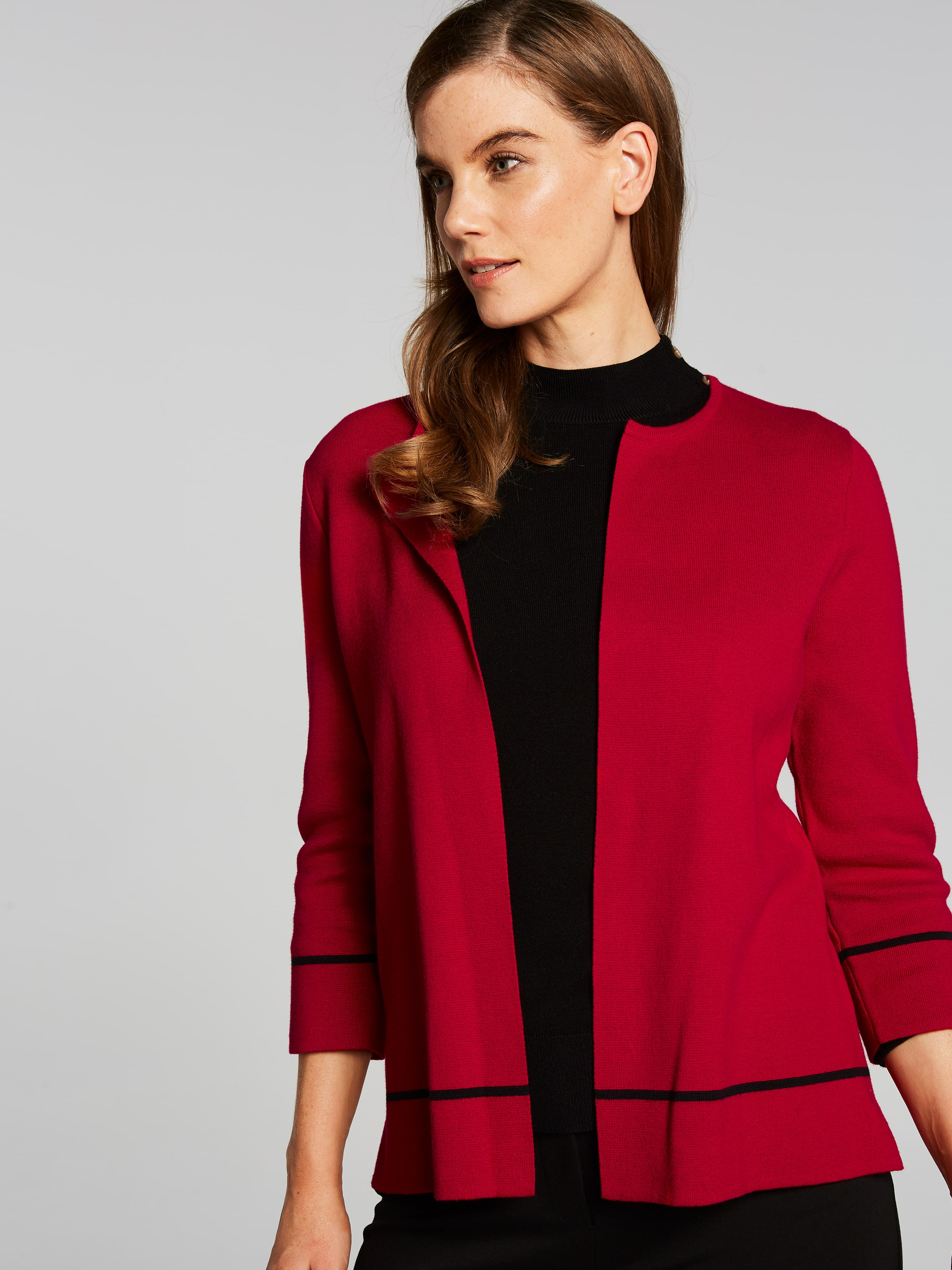 Simone Crop Piped Cardi Coat